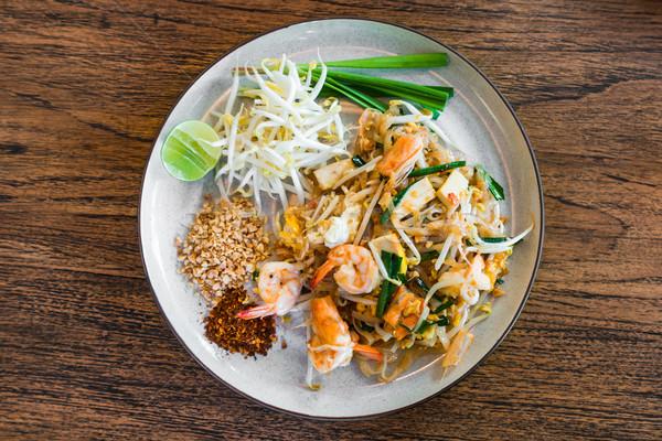 Gamberetti thai thai food piatti legno alimentare Foto d'archivio © FrameAngel