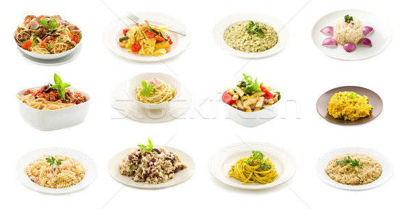 Pasta arroz platos collage foto delicioso Foto stock © Francesco83