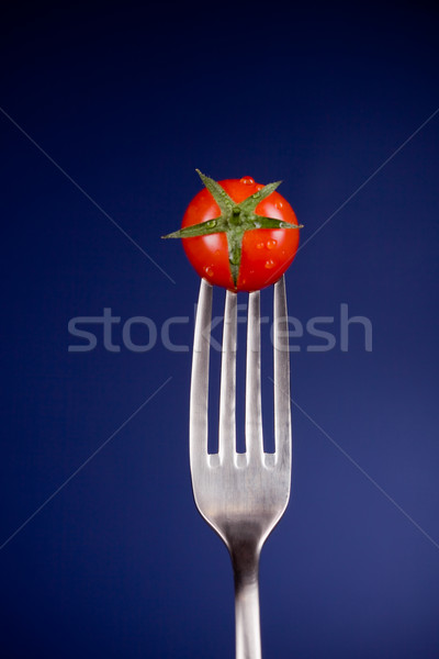Garfo tomates foto azul espaço Foto stock © Francesco83