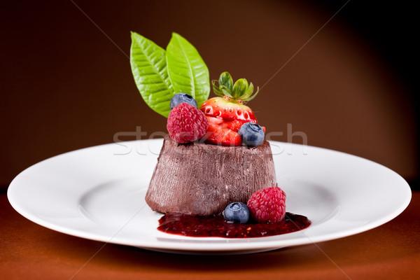 Chocolate Panna cotta with berries Stock photo © Francesco83