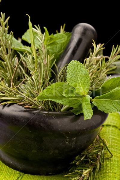 травы фото свежие ароматический стекла таблице Сток-фото © Francesco83