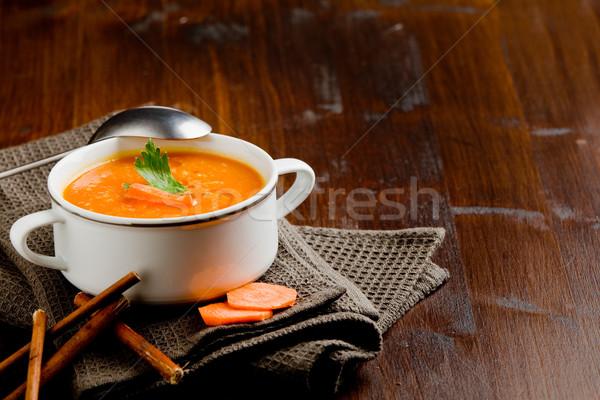 Sárgarépa leves fotó finom krémes fa asztal Stock fotó © Francesco83