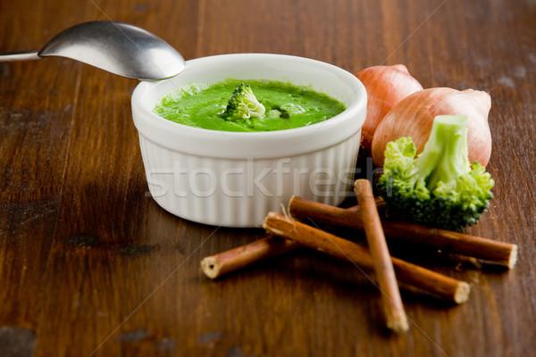 ストックフォト: ブロッコリー · スープ · 写真 · クリーミー · 木製
