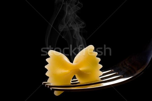 Sıcak makarna sigara içme İtalyan gümüş çatal Stok fotoğraf © Francesco83
