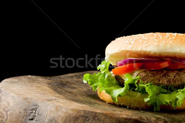 ハンバーガー 写真 アメリカン ハンブルク 木製のテーブル ストックフォト © Francesco83