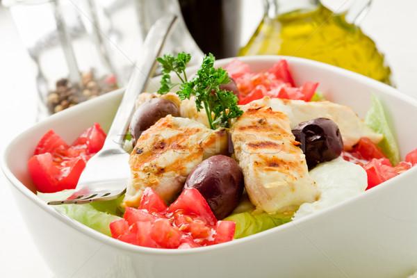 Tavuk salatası fotoğraf lezzetli beyaz çatal yemek Stok fotoğraf © Francesco83