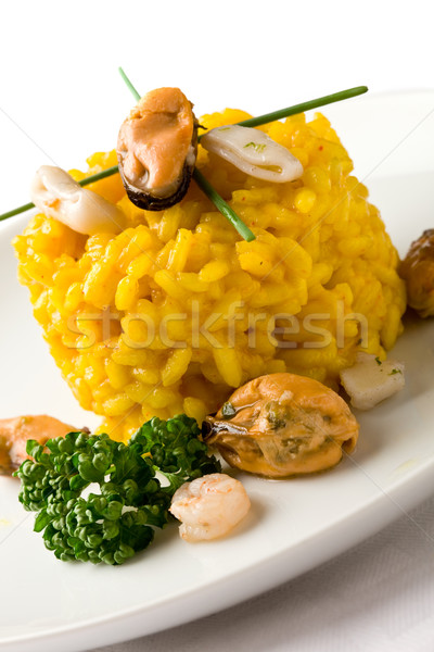 Risotto with saffron and seafood Stock photo © Francesco83