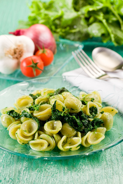 Stock photo: Orecchiette with Turnip tops