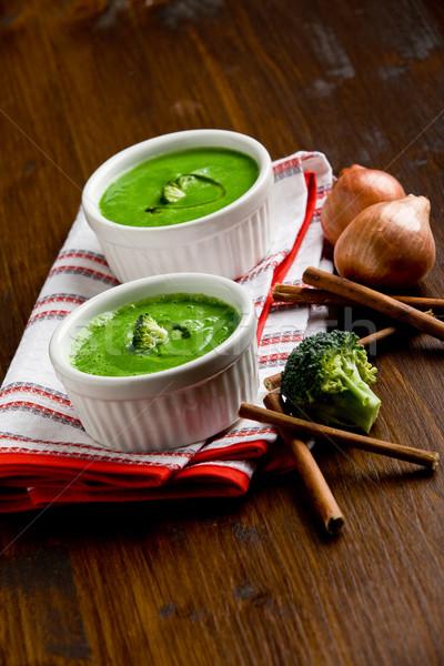 Brokoli çorba fotoğraf lezzetli kremsi ahşap Stok fotoğraf © Francesco83