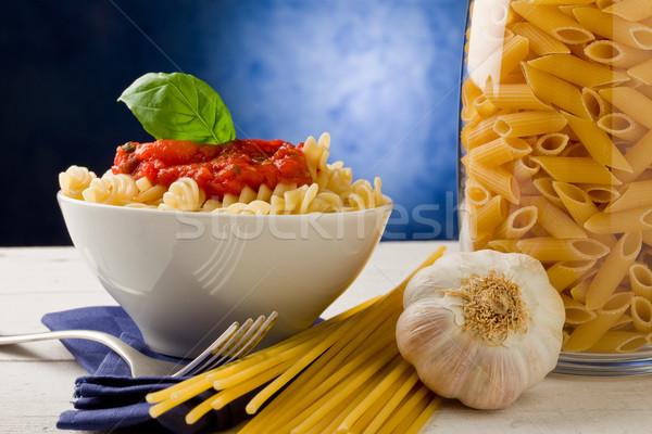 Pasta salsa de tomate azul foto delicioso espaguetis Foto stock © Francesco83
