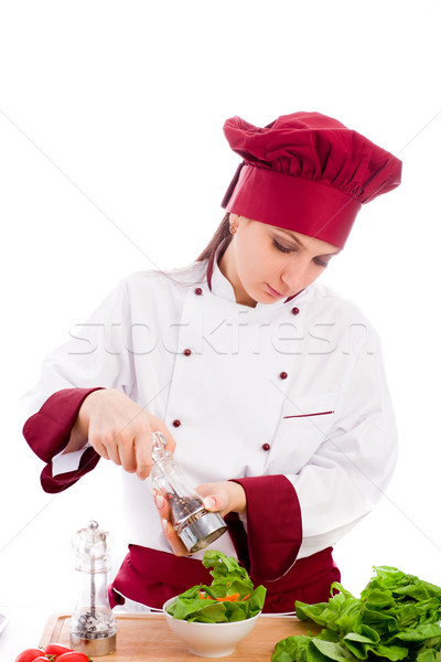 Kucharz Fotografia kobiet restauracji biały kobieta Zdjęcia stock © Francesco83