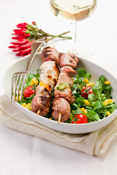 мяса белый таблице ресторан Салат Сток-фото © Francesco83