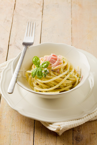 Pasta with sour cream and ham Stock photo © Francesco83