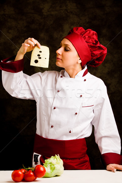 Chef is controlling cheese quality Stock photo © Francesco83