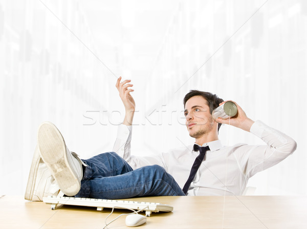 Gesprek oproep man tin telefoon business Stockfoto © Francesco83