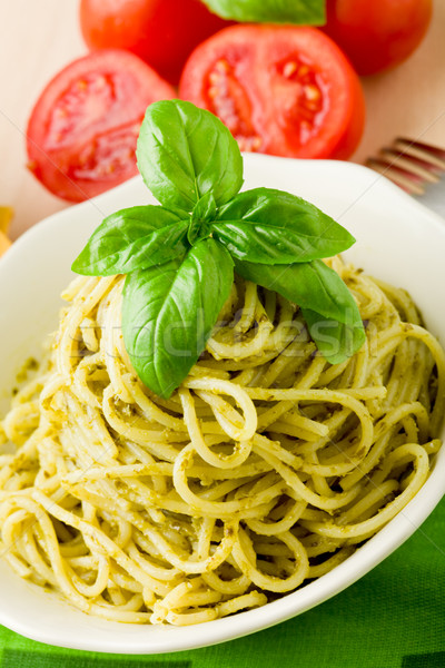 Spaghetti pesto foto italiana pasta Foto d'archivio © Francesco83