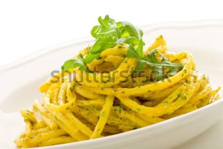 Makarna safran pesto fotoğraf lezzetli yaprakları Stok fotoğraf © Francesco83