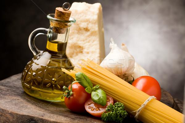 Stockfoto: Ingrediënten · Italiaans · pasta · foto · verschillend · tomatensaus