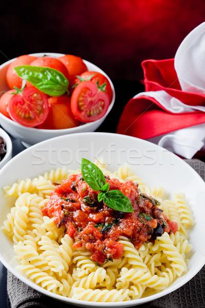 Pâtes sauce tomate photo délicieux italien basilic Photo stock © Francesco83
