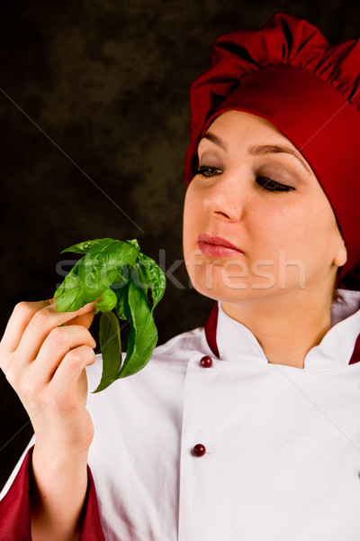 Chef is controlling basil quality Stock photo © Francesco83