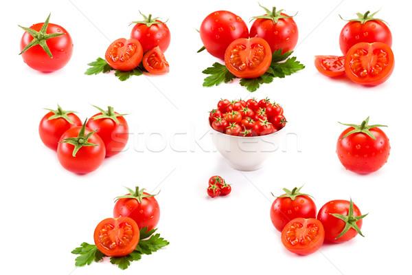 Pomidorów kolaż Fotografia świeże pomidory biały Zdjęcia stock © Francesco83