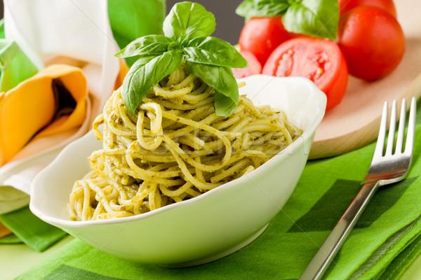 Foto stock: Espaguete · pesto · foto · delicioso · italiano · macarrão
