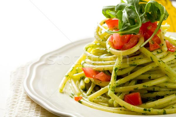 Makarna pesto kiraz domates fotoğraf lezzetli yaprakları Stok fotoğraf © Francesco83