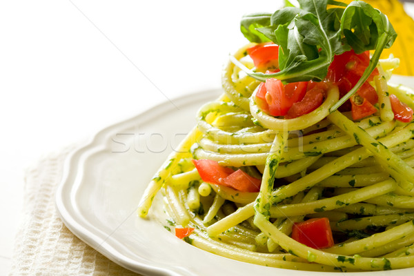 Pasta with arugula pesto and cherry tomatoes Stock photo © Francesco83