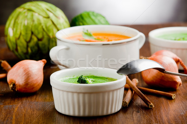 Vegetáriánus fotó finom krémes fény sárgarépa Stock fotó © Francesco83
