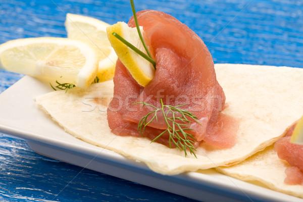 Tonhal szendvics előétel fotó finom kenyér Stock fotó © Francesco83