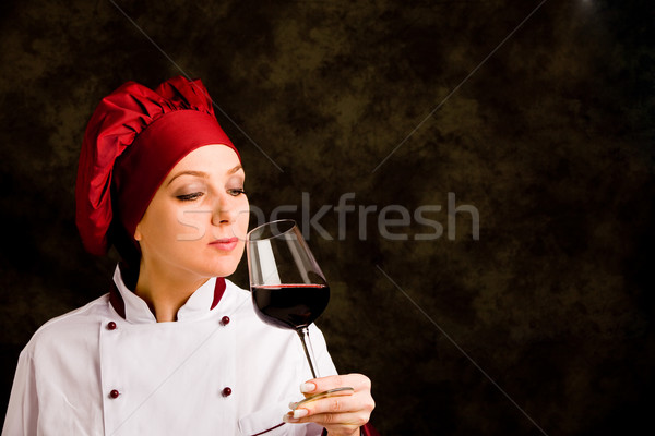 Stock photo: Chef Somelier with wine