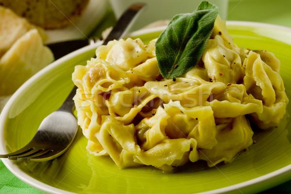 Foto stock: Tortellini · mantequilla · salvia · delicioso · italiano · frescos