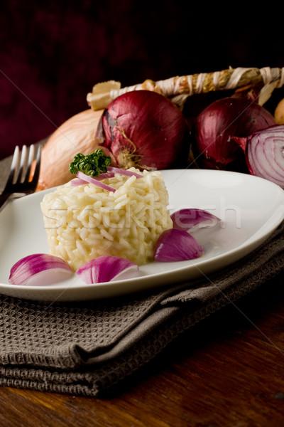 ストックフォト: リゾット · 赤 · 玉葱 · 写真 · 木製のテーブル