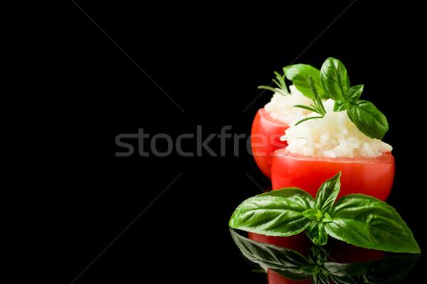 фаршированный помидоров риса изолированный черный фото Сток-фото © Francesco83
