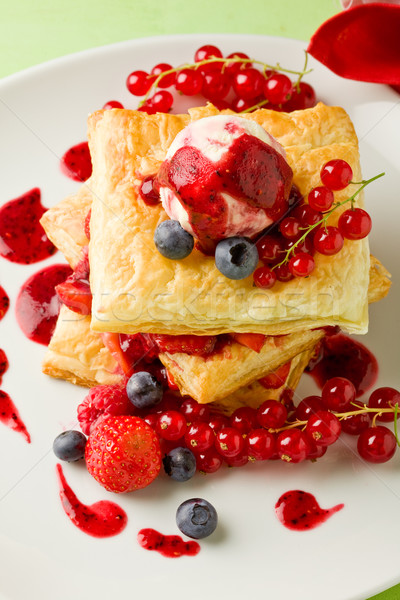 Puff pastry with berries and ice cream Stock photo © Francesco83