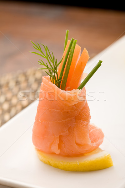 Smoked Salmon rolls with tomatoes Stock photo © Francesco83