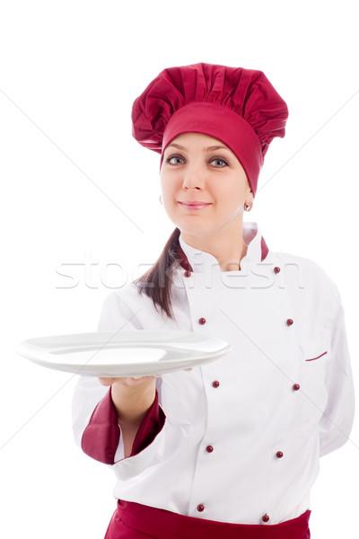 Stockfoto: Chef · presenteren · schotel · foto · vrouwelijke · restaurant