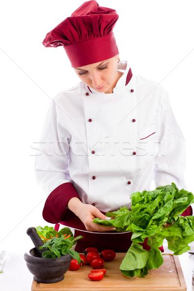 Stockfoto: Chef · foto · vrouwelijke · restaurant · witte · vrouw