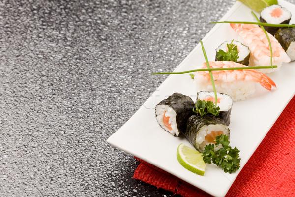 Szusi sashimi fotó finom étel négyszögletes Stock fotó © Francesco83
