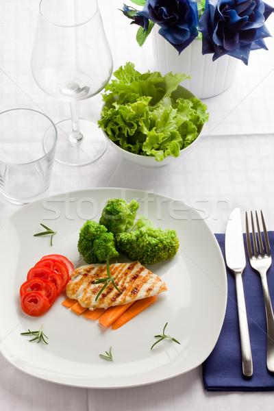 Stockfoto: Gegrilde · kip · borst · groenten · foto · heerlijk