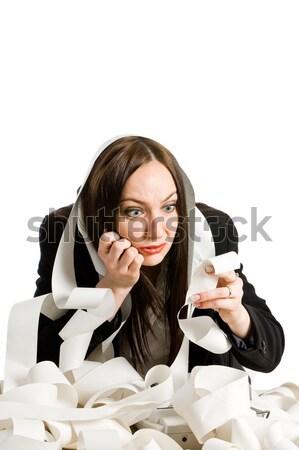 Fotografia kobieta Kalkulator finansów numery Zdjęcia stock © Francesco83