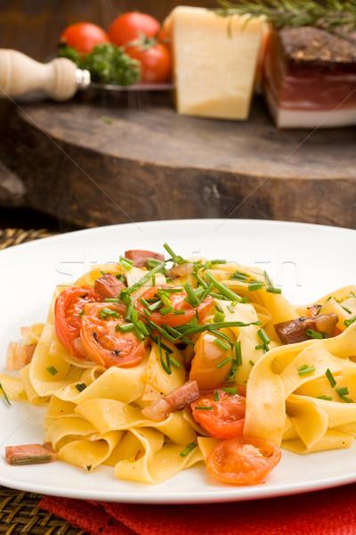 пасты бекон помидоров фото вилка Сток-фото © Francesco83