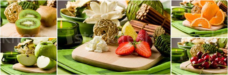 Foto stock: Frutas · collage · foto · diferente · frutas · tabla · de · cortar