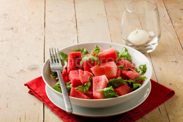 ストックフォト: スイカ · サラダ · 写真 · 新鮮な · 木製のテーブル