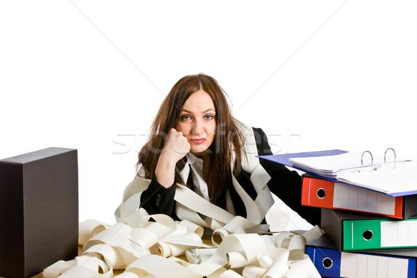 Oberati di lavoro foto donna desk bianco stress Foto d'archivio © Francesco83