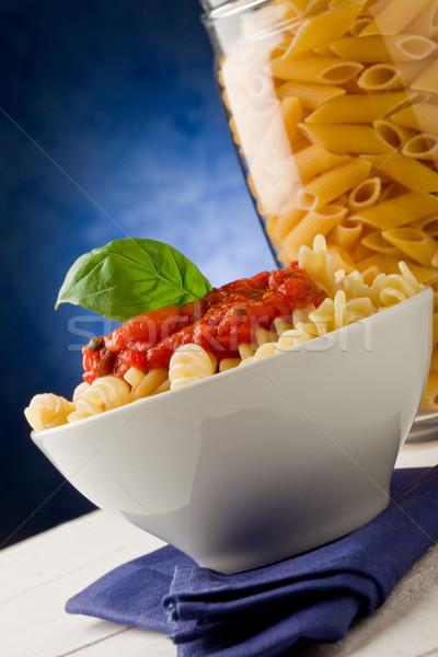 ストックフォト: パスタ · トマトソース · 青 · 写真 · ニンニク