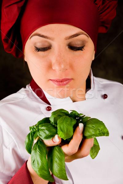 Foto d'archivio: Chef · basilico · qualità · foto · giovani · femminile