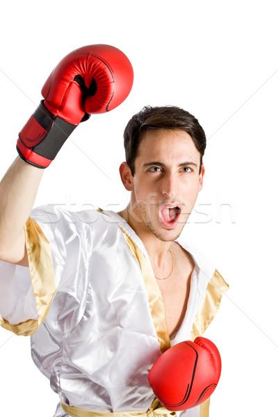 Boxeador foto masculino vermelho luvas branco Foto stock © Francesco83
