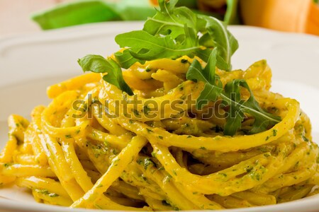 Pasta with Saffron and arugula pesto Stock photo © Francesco83