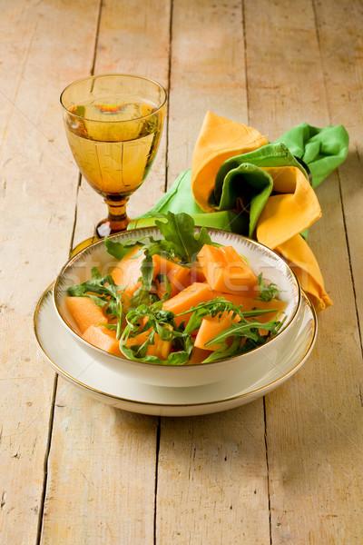 ストックフォト: メロン · サラダ · 写真 · 木製のテーブル · 光